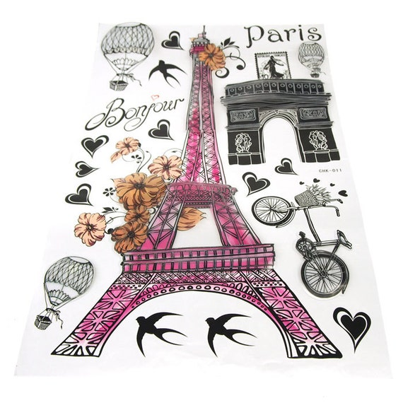 paris eiffel tower wall decor 3d stickers from partyspin on etsy studio. Black Bedroom Furniture Sets. Home Design Ideas