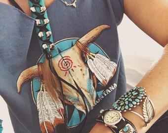 Turquoise leather hair braid ties / wraps / Native / Boho / long / short