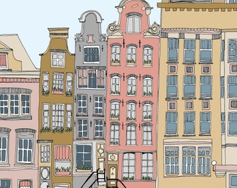 Amsterdam illustrated limited edition print