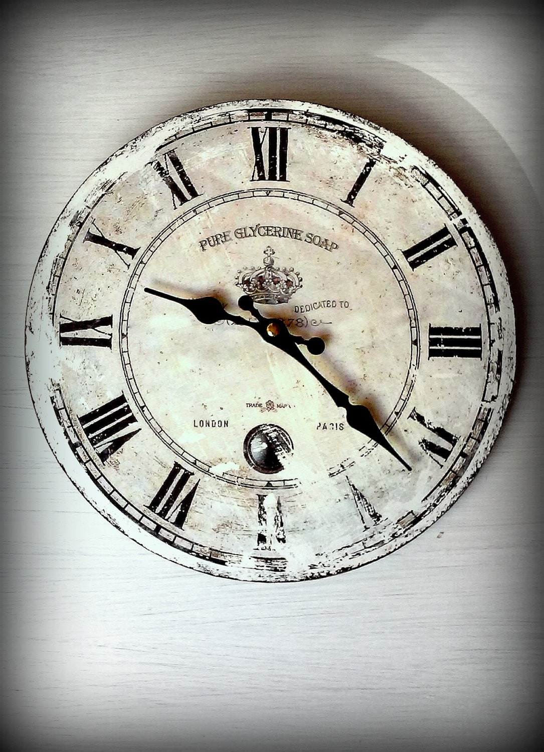 rustic wall clock.distressed clock.vintage clock