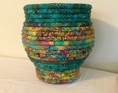 Batik Fabric Coiled Basket Pot