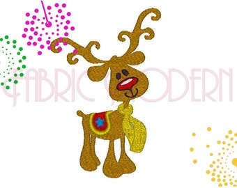 Embroidery Design, Rudolph the red nosed reindeer, reindeer applique'   #324