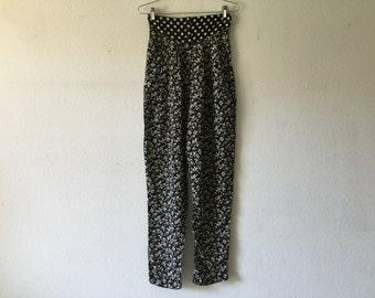 Vintage 1980s Women High Waist Pants Black