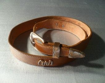 Vintage Leather Belt Southwestern Silver Creek Collection Spirit Animal Wildlife
