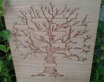 Woodburned Family Tree