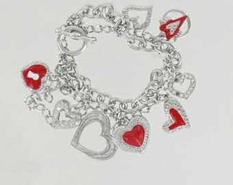 Silver Hearts Charm Bracelet Dangle Charm Bracelets Red Hearts Bracelet Multi Chain Bracelet Gifts for Her Valentine's Jewelry