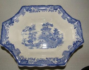 Vtg MASON'S IRONSTONE Vista Blue Handled Octagonal Candy Or Nut Dish