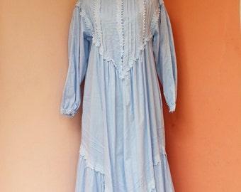 Vintage 70s Blue Cotton Hippie Maxi Japanese  Dress