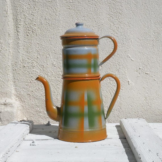 French vintage enamel coffeepot, orange cafetiere, French kitchen, country home, enamelware, tall cafetiere, vintage cafetiere, kitchenalia