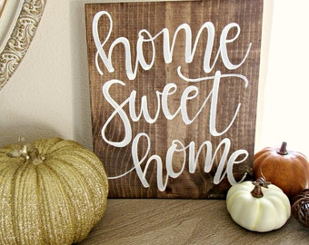 Home Sweet Home Wood Sign // Hand Lettered Sign // Hand Painted // Farmhouse Fall Decor