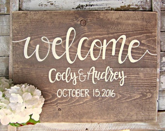 Welcome Wedding Sign // Hand Lettered Wedding Decor // Entryway Wood Sign