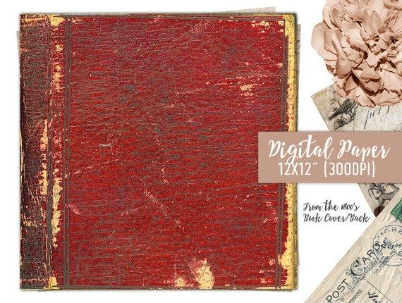 Book Cover Scrapbook Paper : Old book cover digital paper scrapbook antique