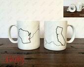 Best Friends Mug Set, Long Distance Mugs, States Mugs, BFF Mugs, Double Sided Mugs, Miss You, Coffee Drink, Drinking Cup, Moving Gift