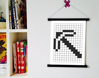 Mono Minecraft pickaxe inspired print - Kids pixel wall decor - Video gaming bedroom art poster
