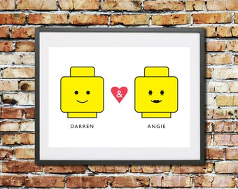 Wedding - Engagement - Anniversary - Valentines - Gift - Personalised Gift - Lego Gift - Lego minifigures - Couples - Art - Print