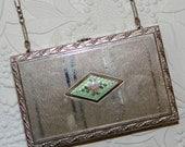 Vintage Compact Purse 1920s Dance Purse Coin Purse Change Purse Powder Compact Mirror Compact Wristlet Purse