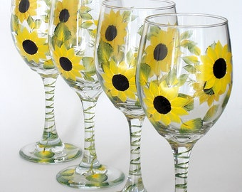 Set of 4 Hand Painted Wine Glasses Sunflowers Yellow Black Flowers Hand Painted Glassware Stemware Painted Glass Custom Personalized Wedding