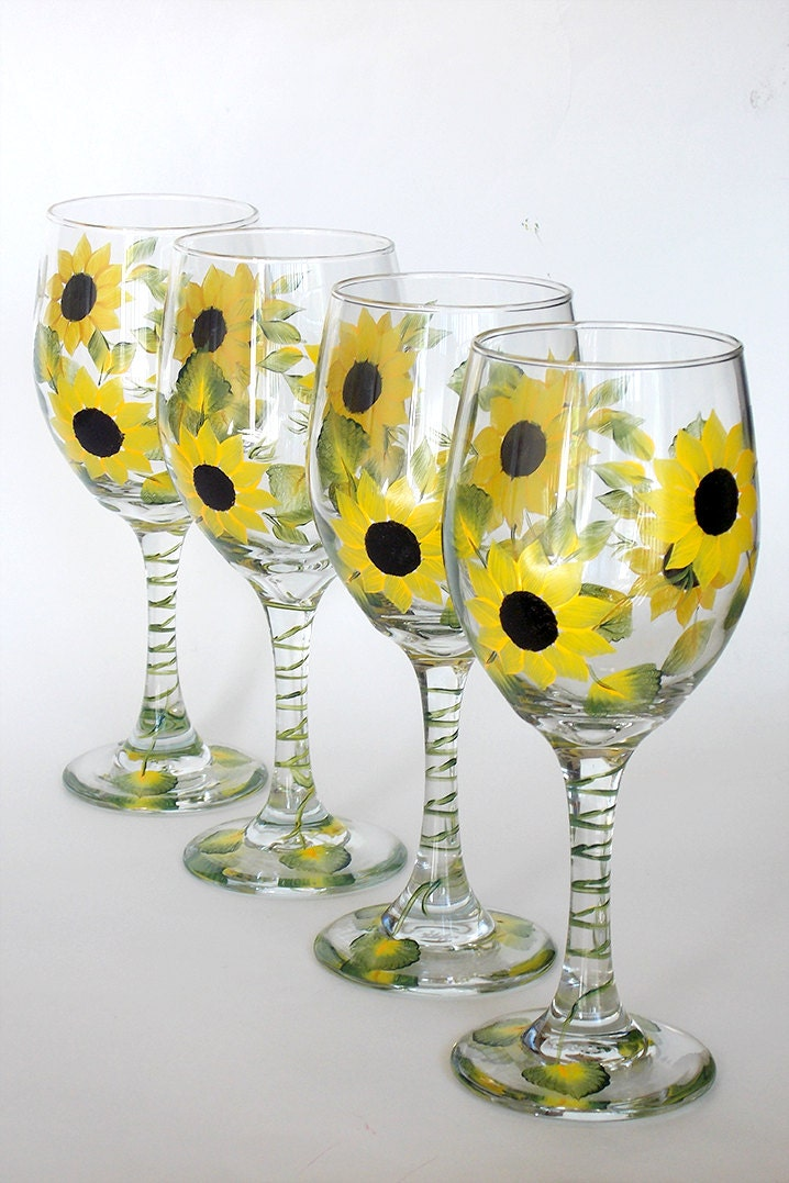 Set of 4 hand painted wine glasses sunflowers yellow black for Hand painted glassware
