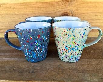 Custom spray paint splattered coffee mugs
