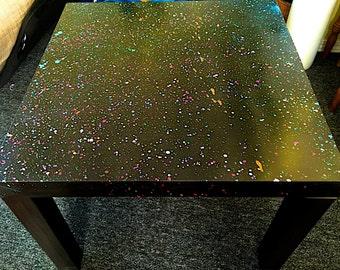 Custom spray paint splattered IKEA coffee table