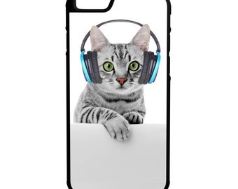 Cat with headphones iPhone Galaxy Note LG HTC Protective Hybrid Rubber Hard Plastic Snap on Case Black