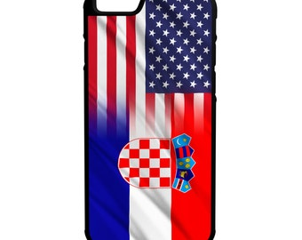 Croatian American Flag iPhone Galaxy Note LG HTC Protective Hybrid Rubber Hard Plastic Snap on Case Black Croatia America USA