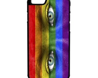 LGBT Painted Face iPhone Galaxy Note HTC LG Hybrid Rubber Protective Case