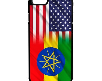 Ethiopia American Flag iPhone Galaxy Note LG HTC Hybrid Rubber Protective Case