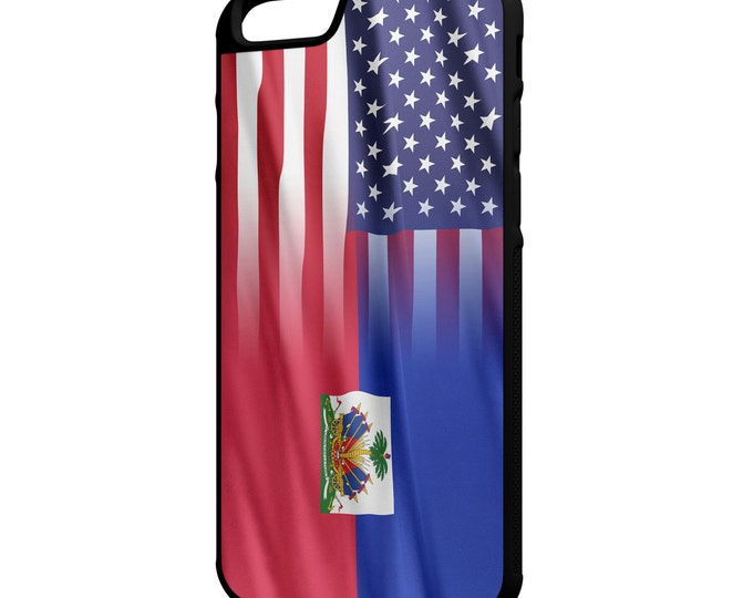 """Haitian American Flag iPhone 4/4s 5/5s 5c 6 4.7"""" 6 Plus 5.5"""" Galaxy S4 S5 S6 Note 3 4 Hybrid Rubber Protective Case"""