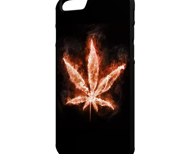 Red Weed Leaf  iPhone Galaxy Note HTC LG Hybrid Rubber Protective Case