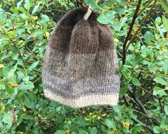 Icelandic wool hat, white, grey and brown. Hand knitted in Iceland. READY TO SHIP