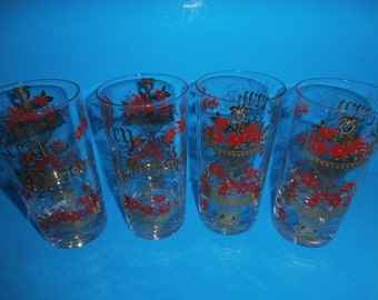 """Vintage Christmas glass set of 4 tumblers red poinsettia and gold accents """"Merry Christmas"""""""