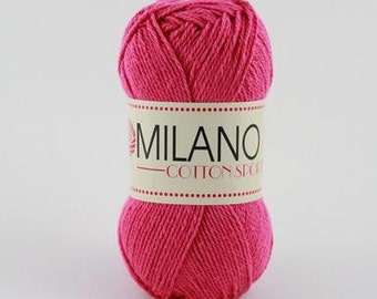 Milano Cotton Sport - 100% Cotton Yarn - 100g Worsted / Aran weight - Hot Pink
