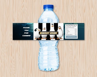 The Penguins of Madagascar Water Bottle Label Birthday Party Printable