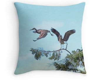Great Blue Herons, Wildlife Cushions, Nature Throw Pillow, Birdwatchers Gift, Bird Pillow, Bird Cushion,Birders Cushion,Birders Throw Pillow