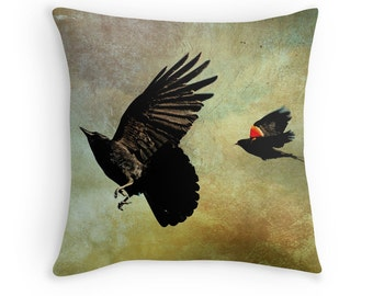 Crow Cushion, Bird Decor, Crow Throw Pillow, Blackbird Cushion, Blackbird Pillow, Crow Decor, Avian Decor, Nature Decor, Flying Birds