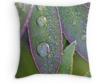 Leaf Cushion, Lupins, Gardeners Gift, Cushion for Gardener, Green Purple Pillow, Nature Decor, Rain Drops, Waterdrops,Nature Decor,Gift Idea