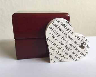 100 Die Cut Book Paper Hearts With Heart Accent-Gift Tags-Wedding-Scrapbooking-Decor