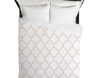 Duvet Cover, Peach, Quatrefoil, Girls Bedding, Teen Duvet, Tween Room Decor, Girls Bedroom, Peach Bedding, Twin, Queen, King, Bed Cover