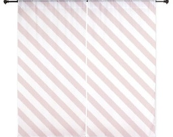 Pink Curtains, Girls Bedroom Decor, Sheer Curtains, Teen Girl Room Decor, Striped Curtains, Dorm Decor, Stripes, Pink, 60 inches, 84 inches