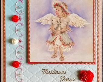 embroidered greeting card, picture angel garland of roses