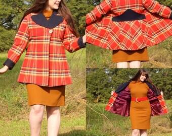 Vintage Womens Wool Plaid Coat, Red/Blue, sz Med