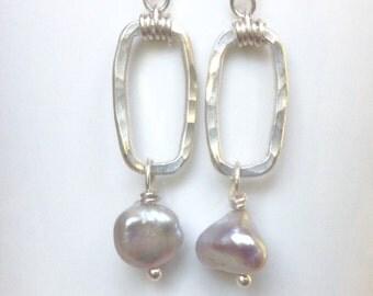 Silver Rectangle Pearl Earrings, Baroque Pearls, Freshwater Pearls, Sterling Silver, Handmade by LisaJStudioJeweler.