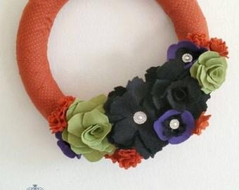 Felt Flower Halloween Wreath--Halloween Wreath--Black and Orange Wreath--Interchangeable Wreath--Elegant Halloween Wreath--READY TO SHIP