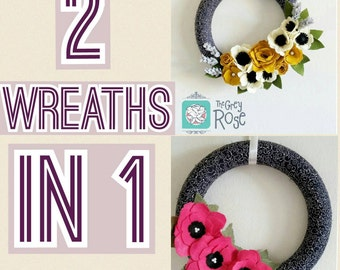 Felt Flower Wreath--Spring Wreath--Fall Wreath--Interchangeable Wreath--2 in 1 Wreath--Wrapped Wreath--READY TO SHIP Wreath--Elegant Wreath