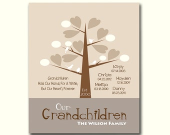 Grandchildren Family Tree with Grandchildrens Birth Dates - Personalized Grandparent Gift - Gift for Parents - Available in Any Color