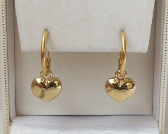 18ct Gold Plated Puffed Heart Drop Hoop Earrings.