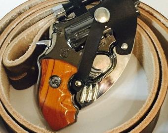 Awesome pistol Belt buckle gun laser lighter and holster