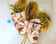"""Wall clock """"Smile and cry""""painted,  Wall glass clock, Art gift idea, Painted masks clock, Anniversary gift , Wall clock painted"""