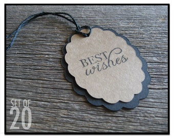 Oval Best Wishes Gift Tag - set of 20